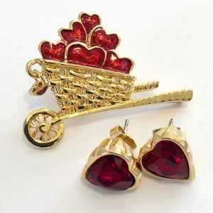 Valentine's set - brooch & earrings hearts ❤️❤️